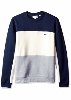 Lacoste Men's Long Sleeve Brushed Pique Fleece Colorblock Sweater Silver Chine/geode/Navy Blue