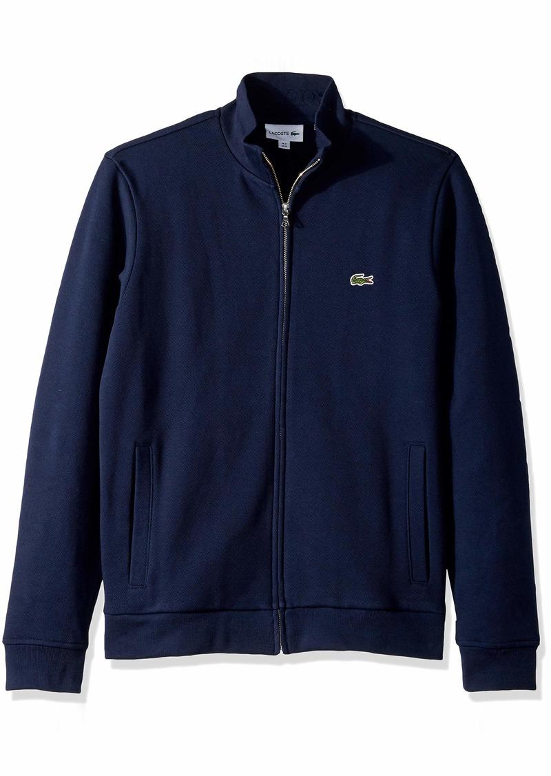 Lacoste Men's Long Sleeve Brushed Pique Fleece Full Zip W/Side Pockets