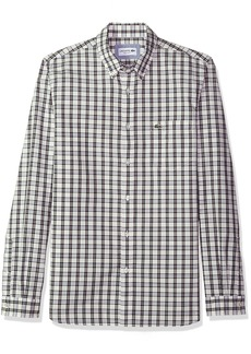 Lacoste Men's Long Sleeve Button Down with Pocket Medium Gingham Poplin