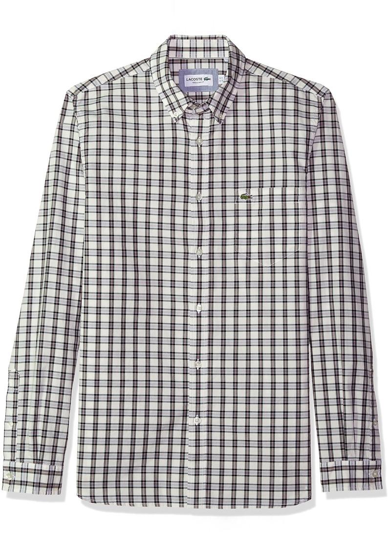 Lacoste Men's Long Sleeve Button Down with Pocket Medium Gingham Poplin