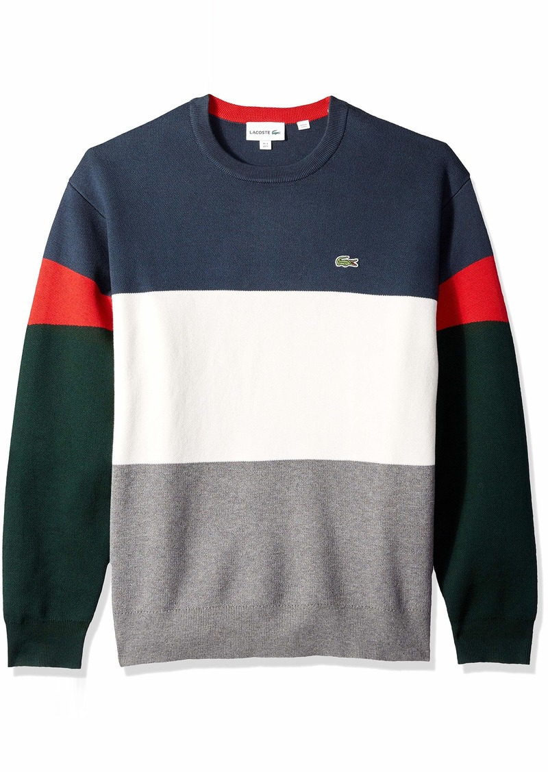 Lacoste Men's Long Sleeve Colorblock Full Needle Sweater