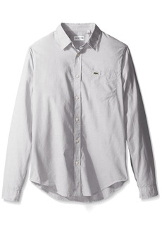Lacoste Men's Long Sleeve Cotton Voile Slim Fit Woven Shirt CH3937-51  L