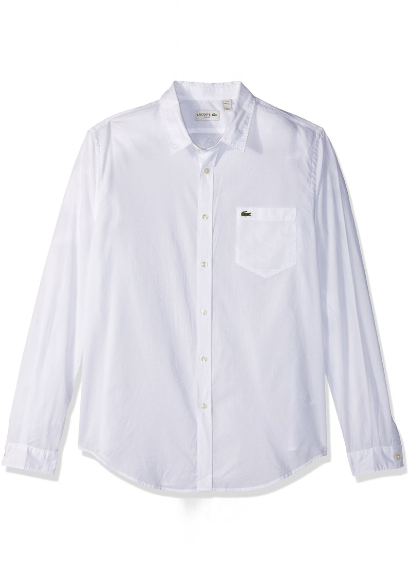 501cb313 Men's Long Sleeve Cotton Voile Slim Fit Woven Shirt CH3937-51 White