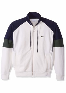 Lacoste Men's Long Sleeve Fleece with Full Zip and Pockets Sweatshirt geode/Caper Bush/Navy Blue