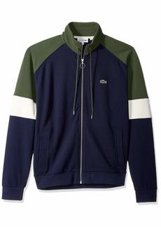 Lacoste Men's Long Sleeve Fleece with Full Zip and Pockets Sweatshirt Navy Blue/geode/Caper Bush