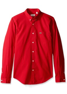 Lacoste Men's Long Sleeve Gingham Check Poplin Reg Fit Woven Shirt CH3940  XL