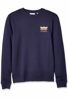 Lacoste Men's Long Sleeve Graphic Brushed Fleece Jersey Sweatshirt