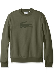 Lacoste Men's Long Sleeve Graphic Crew with Bonded Croc Sweatshirt SH3289