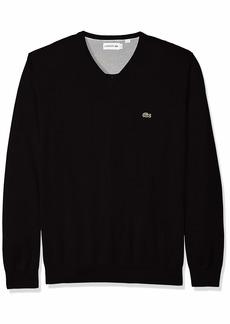 Lacoste Men's Long Sleeve Half Moon V Neck Jersey Sweater Flour/Black XXX-Large