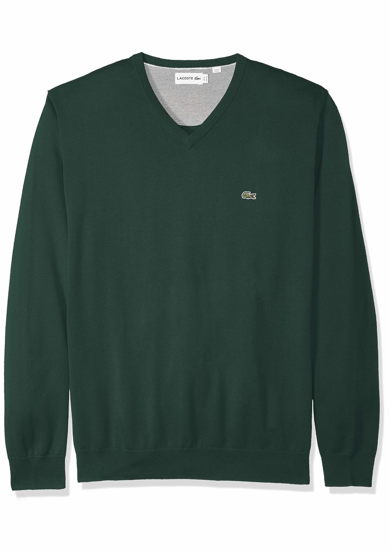 Lacoste Men's Long Sleeve Half Moon V Neck Jersey Sweater pin Moline/Flour/Green 4X-Large