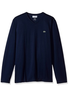 Lacoste Men's Long Sleeve Jersey Pima Reg Fit V Neck T-Shirt