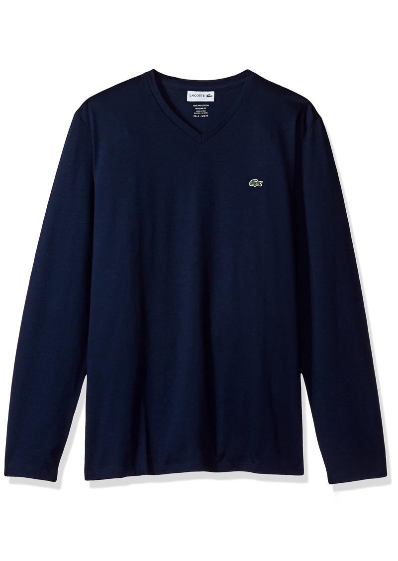 Lacoste Men's Long Sleeve Jersey Pima Reg Fit V Neck T-Shirt