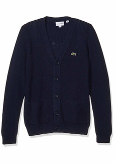 Lacoste Mens Long Sleeve Knit Effect Classic Sweater Cardigan Sweater  S