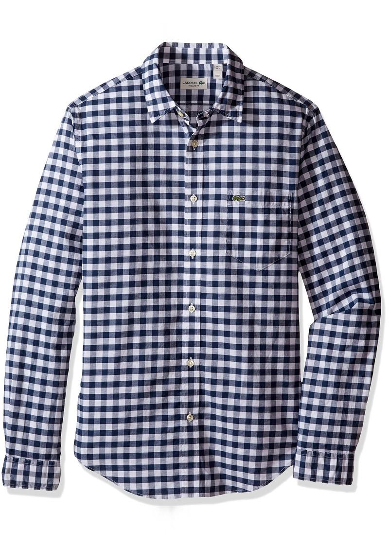 2fb86112d6fcb Lacoste Men s Long Sleeve Gingham Check Regular Fit Woven Shirt CH6401-51 XL