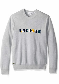 Lacoste Men's Long Sleeve Letter Block Graphic Sweater PLUVIER Chine/Multico