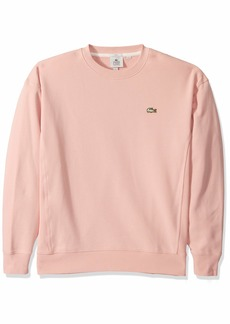 Lacoste Men's Long Sleeve LVE Crew Neck Solid Sweatshirt Lychee S