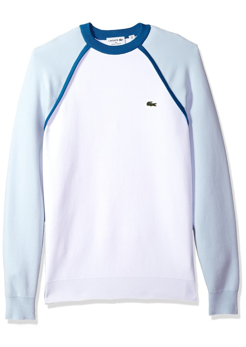 Lacoste Men's Long Sleeve Made in France Interlock Crew Sweater AH4543 White/Rill-Medway