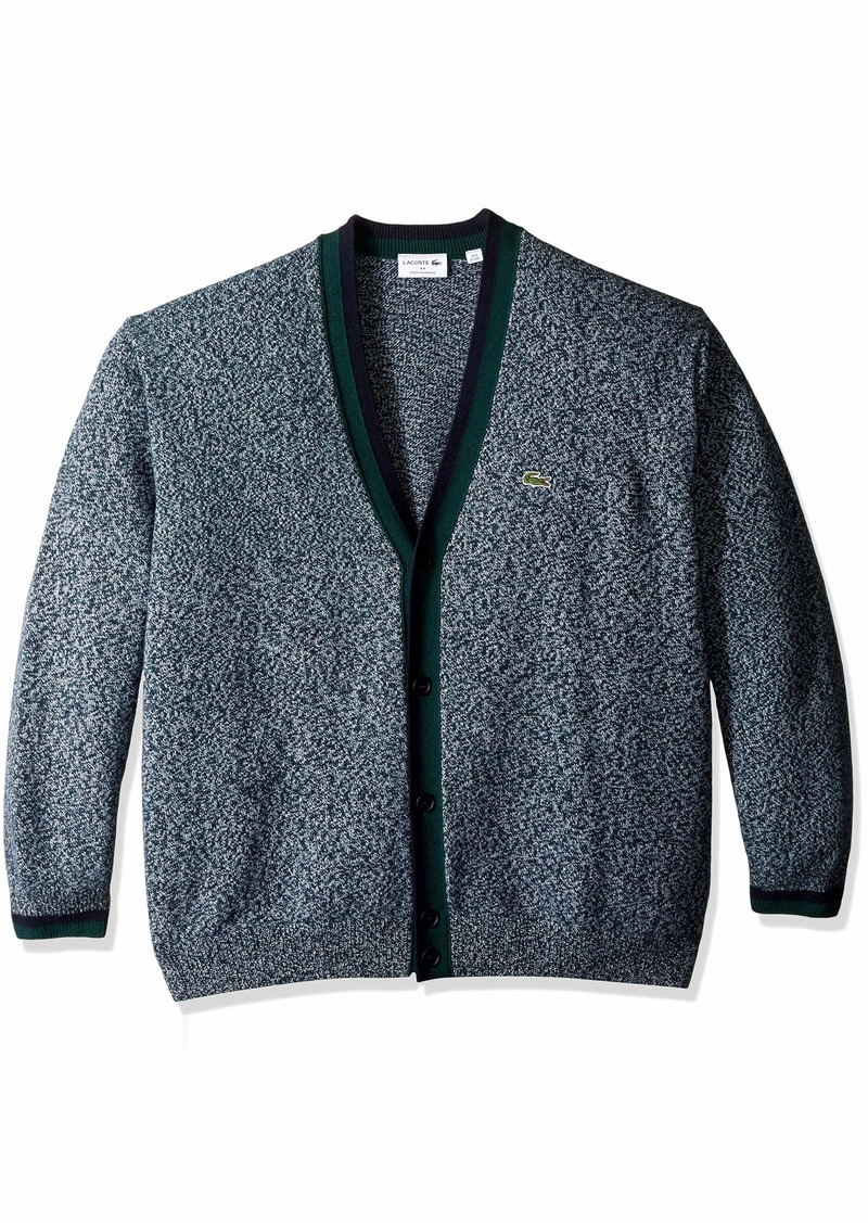 6a737486f22 Lacoste Men s Long Sleeve Made in France Wool Cardigan ACONIT Moline Navy  Blue