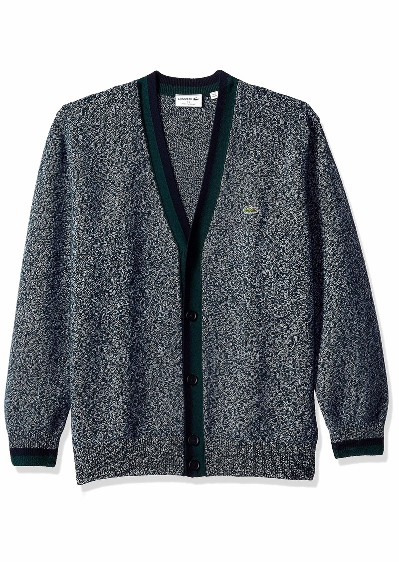9238607e Men's Long Sleeve Made in France Wool Cardigan ACONIT MOULINE/NAVY BLUE