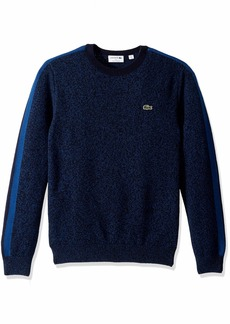 Lacoste Men's Long Sleeve Made in France Wool Sweater ENCRIER Mouline/Inkwell-N