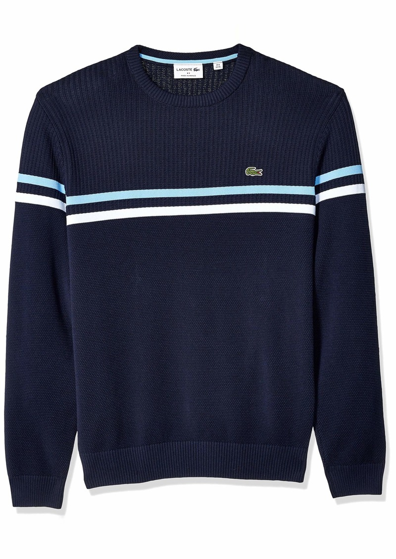 Lacoste Men's Long Sleeve Mix Stich 2 Stripe Sweater