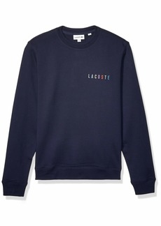 Lacoste Mens Long Sleeve Non Brushed Fleece Rainbow Logo Sweatshirt Sweatshirt  3XL