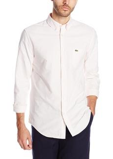 Lacoste Men's Long Sleeve Oxford Bengal Stripe Regular Fit Button Down Woven Shirt