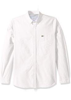 Lacoste Men's Long Sleeve Oxford Button Down Collar Regular Fit Woven Shirt CH4976