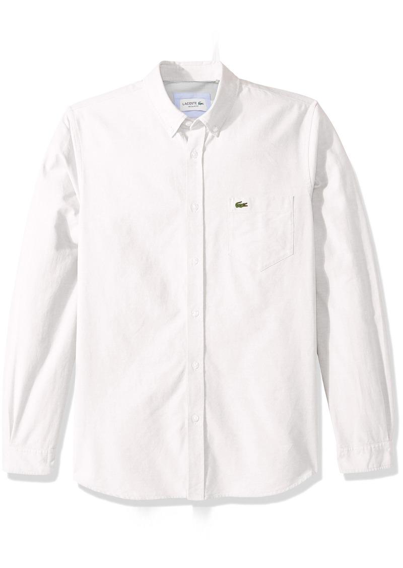 284396693 Lacoste Men s Long Sleeve Oxford Button Down Collar Regular Fit Woven Shirt  CH4976