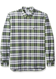 Lacoste Men's Long Sleeve Oxford Checked Button Down Collar Reg Fit CH5811