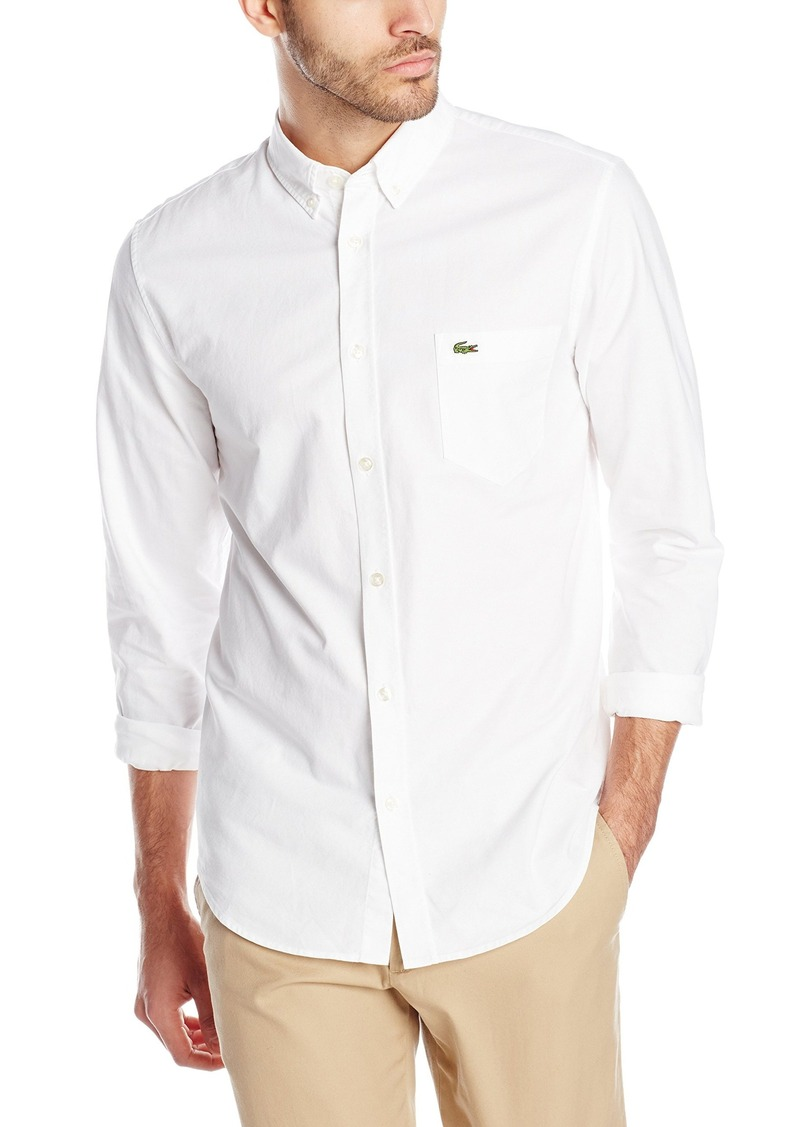 aa92426b7 Lacoste Men s Long Sleeve Oxford Regular Fit Button Down Woven Shirt  White White 38