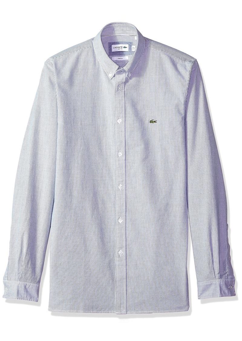 aa2dec6b0 Lacoste Men s Long Sleeve Oxford Stretch Stripe Collar Slim Woven Shirt  CH5022