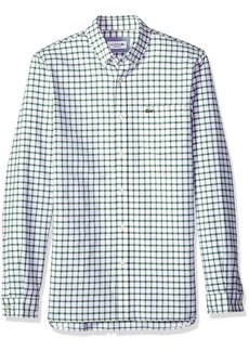Lacoste Men's Long Sleeve Oxford Tiled Button Down Collar Reg Fit Woven Shirt CH5814 Green/White