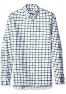 Lacoste Men's Long Sleeve Oxford Tiled Button Down Collar Reg Fit Woven Shirt CH5814 Green/White XL