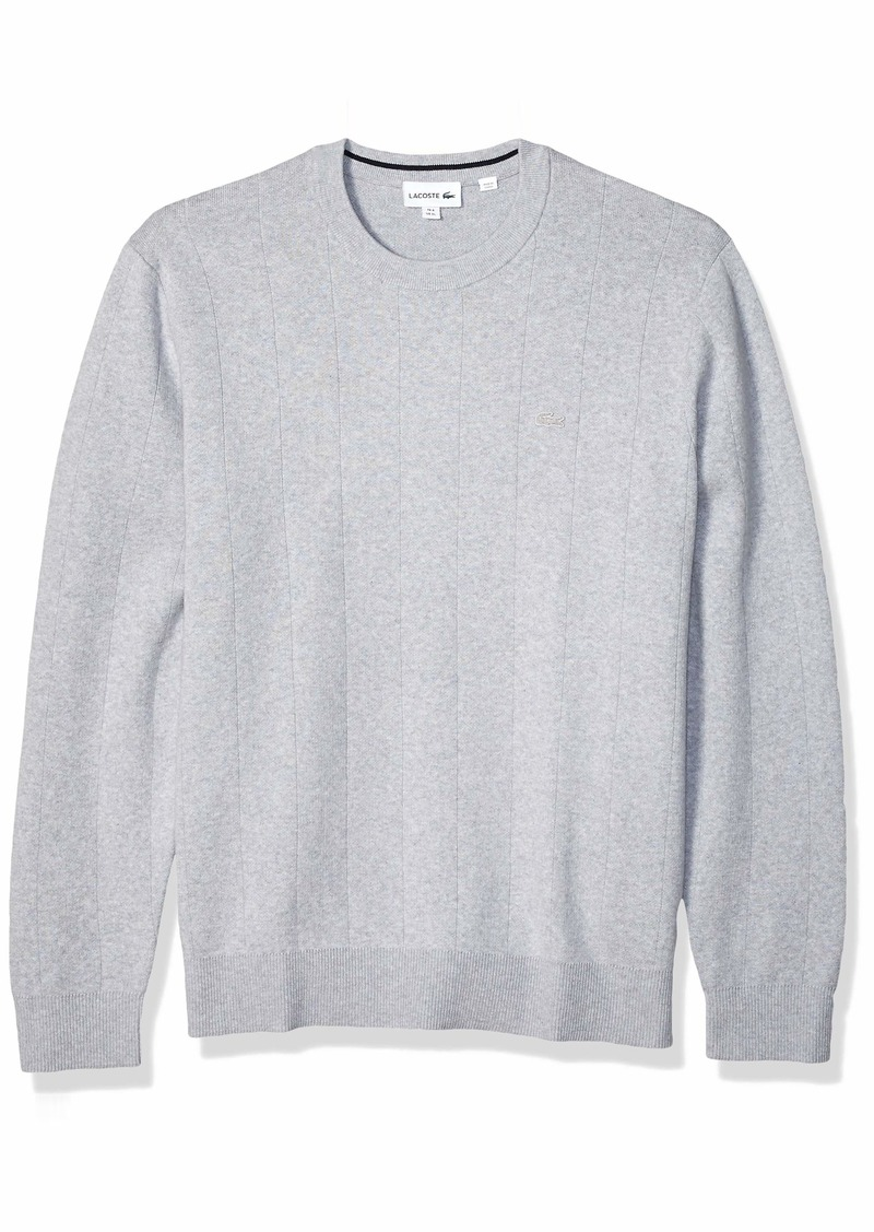 Lacoste Men's Long Sleeve Pinstriped Cotton/Cashmere Sweater