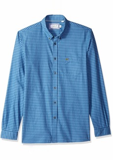 Lacoste Men's Long Sleeve REG FIT Checkbox Casual Button Down Iodine/TURQUIN Blue