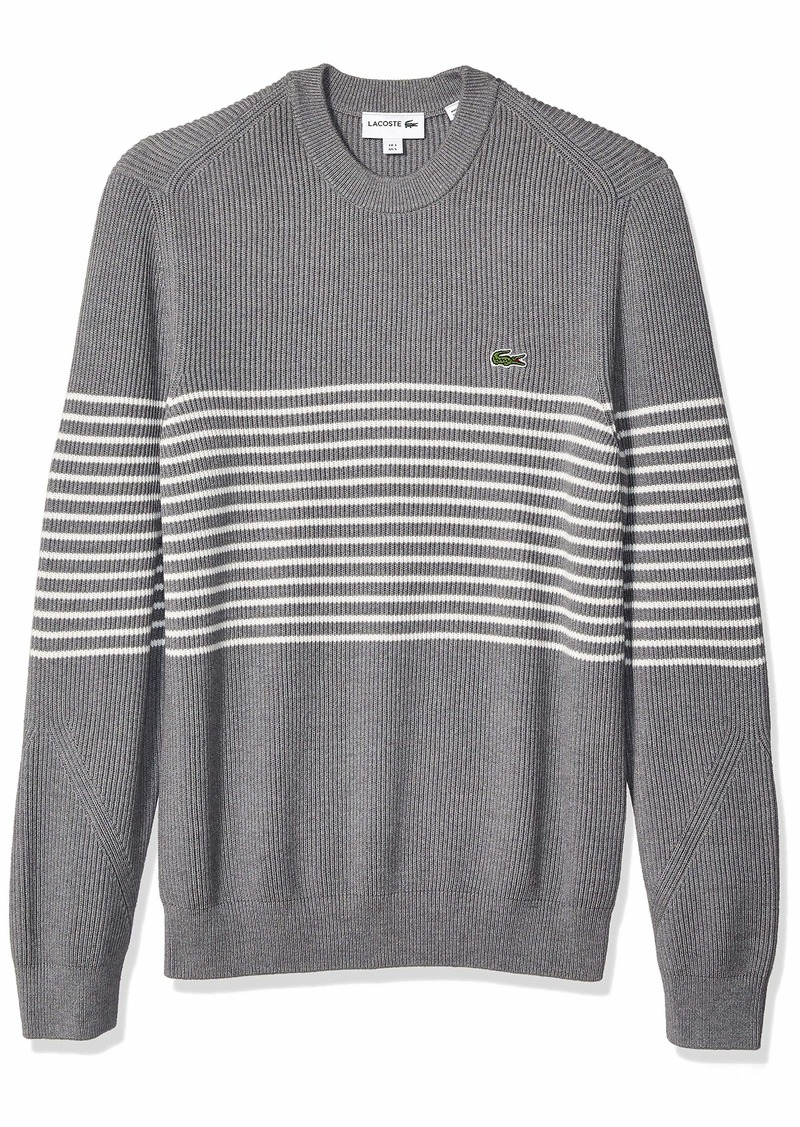 Lacoste Men's Long Sleeve Rib Cotton with Striped Center Sweater