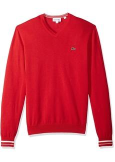 Lacoste Men's Long Sleeve Semi Fancy Jersey V-Neck Sweater AH4086