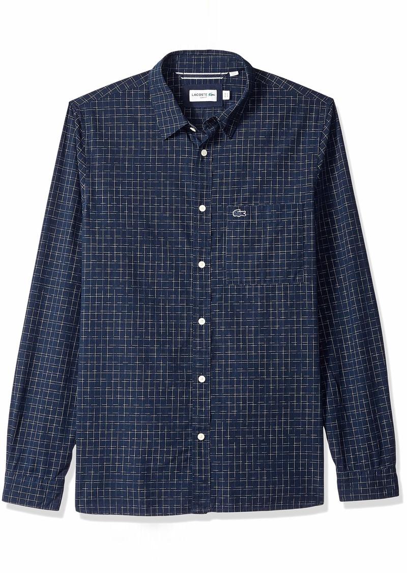 Lacoste Men's Long Sleeve Slim FIT Blue Pack Fancy POPLIN Button Down Navy