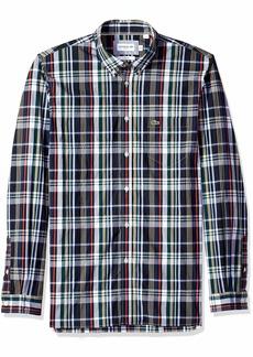 Lacoste Men's Long Sleeve Slim Fit Plaid Casual Button Down ACONIT/Multico
