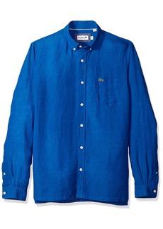 Lacoste Men's Long Sleeve Solid Linen Button Down Collar Reg Fit Woven Shirt CH4990