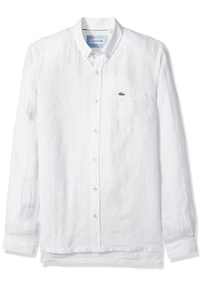 Lacoste Men's Long Sleeve Solid Linen Button Down Collar Reg Fit Woven Shirt CH4990