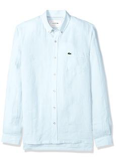 Lacoste Men's Long Sleeve Solid Linen Button Down Collar Reg Fit Woven Shirt  XL