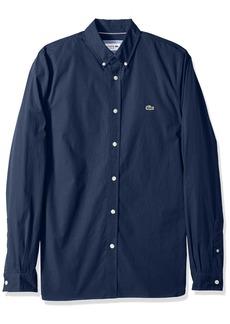 Lacoste Men's Long Sleeve Solid Poplin Stretch Collar Slim Woven Shirt CH5816