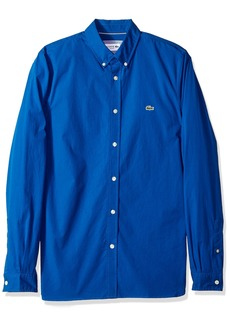 Lacoste Men's Long Sleeve Solid Poplin Stretch Collar Slim Woven Shirt CH5816