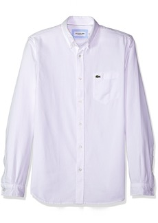 Lacoste Men's Long Sleeve Solid Washed Pique Collar Regular Fit Woven Shirt CH5010