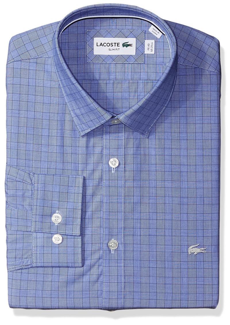 fe255d215a2a3a Lacoste Men s Long Sleeve Spread Collar Glen Plaid Poplin Slim Fit  methylene Steamer White