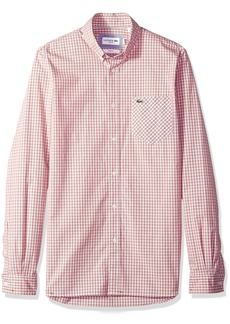 Lacoste Men's Long Sleeve Stretch Poplin Checkered Slim Woven Shirt CH4981