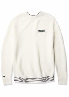 Lacoste Men's Long Sleeve Striped Rib Crewneck Sweater Flour/Flour-Abysm XXX-Large