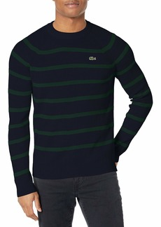 Lacoste Men's Long Sleeve Striped Ribbed Crewneck Sweater  L